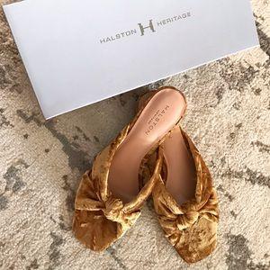 Halston Heritage Ginny Velvet slides sandals 7 8